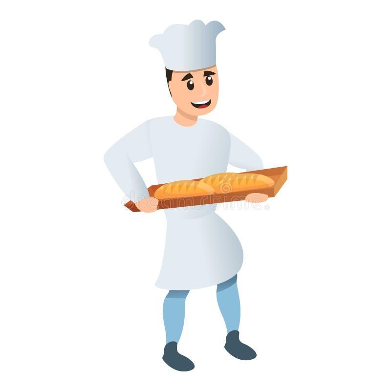 Icône heureuse de boulanger d'usine, style de bande dessinée illustration stock