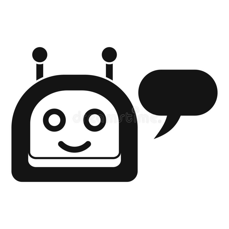 Icône heureuse de chatbot, style simple illustration stock
