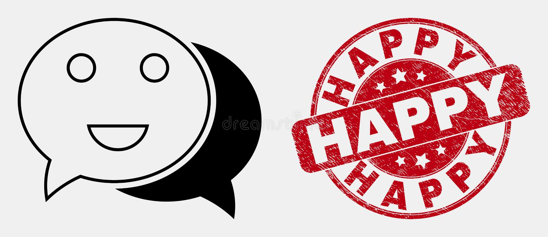 Icône heureuse linéaire de causerie de vecteur et phoque heureux grunge illustration stock