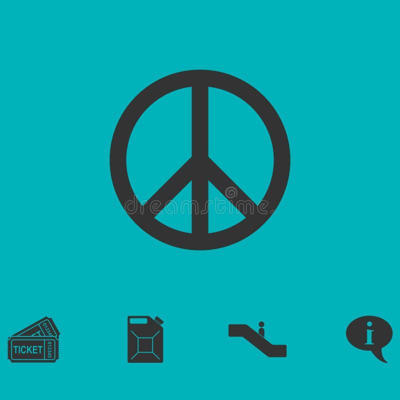 Icône hippie de paix à plat illustration de vecteur