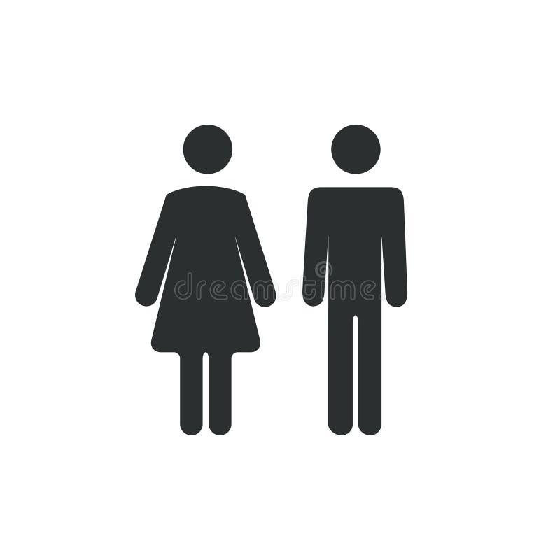 Icône hommes-femmes de salle de bains Symbole de signe de dame de garçon ou de fille de toilettes Concept de vecteur de carte de  illustration libre de droits