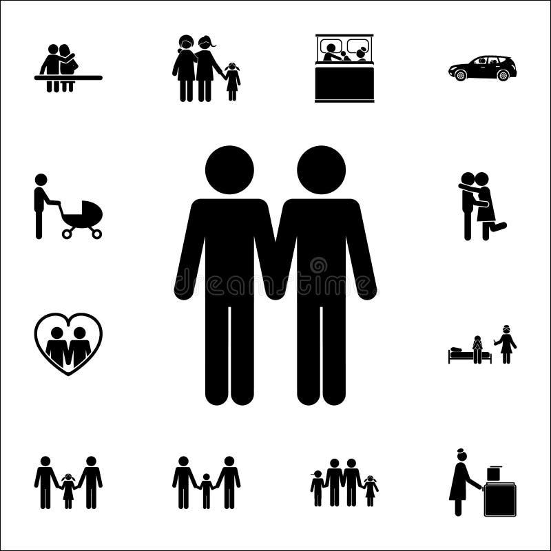 Icône homosexuelle de famille Ensemble détaillé d'icônes de famille Signe de la meilleure qualité de conception graphique de qual illustration libre de droits