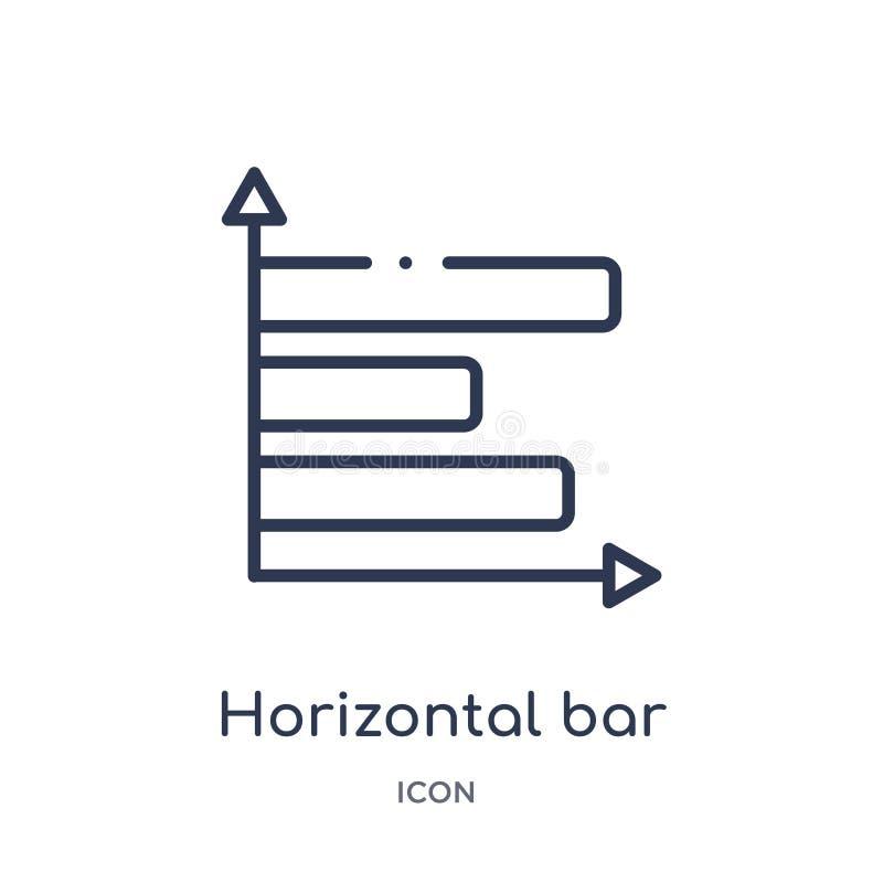 Icône horizontale linéaire d'histogramme de collection d'ensemble d'affaires Ligne mince icône horizontale d'histogramme d'isolem illustration stock