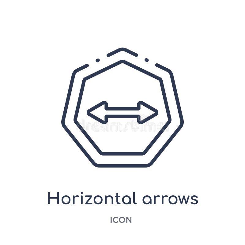 Icône horizontale linéaire de flèches de collection d'ensemble de flèches Ligne mince vecteur horizontal de flèches d'isolement s illustration de vecteur