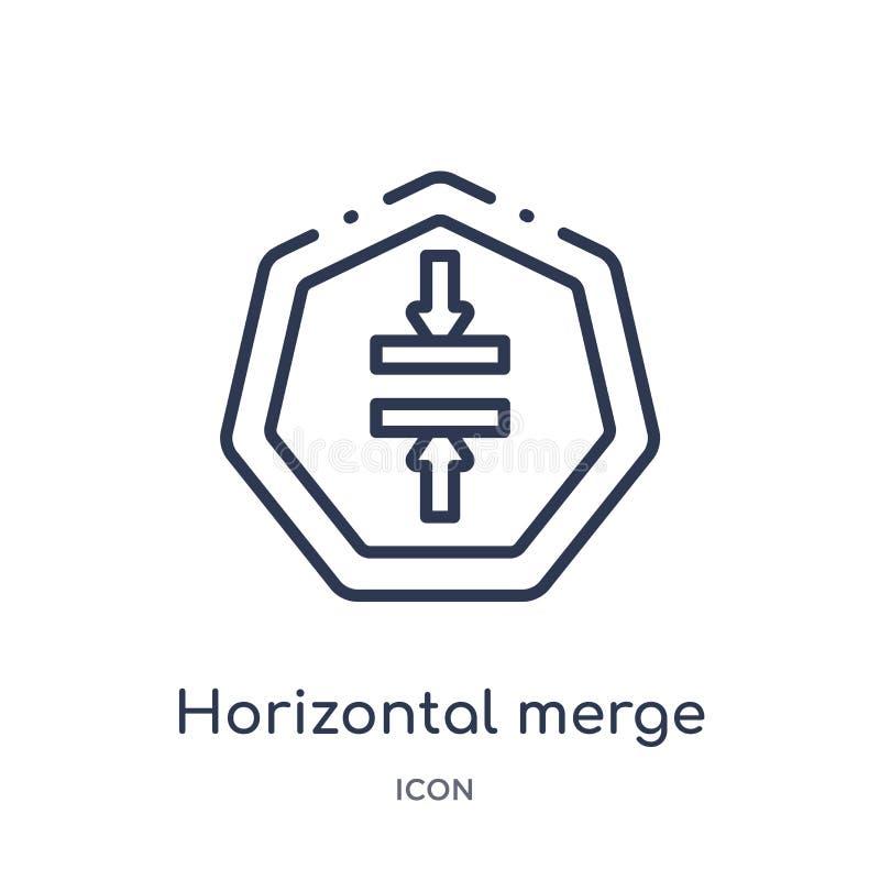 Icône horizontale linéaire de fusion de collection d'ensemble de flèches Ligne mince vecteur horizontal de fusion d'isolement sur illustration libre de droits