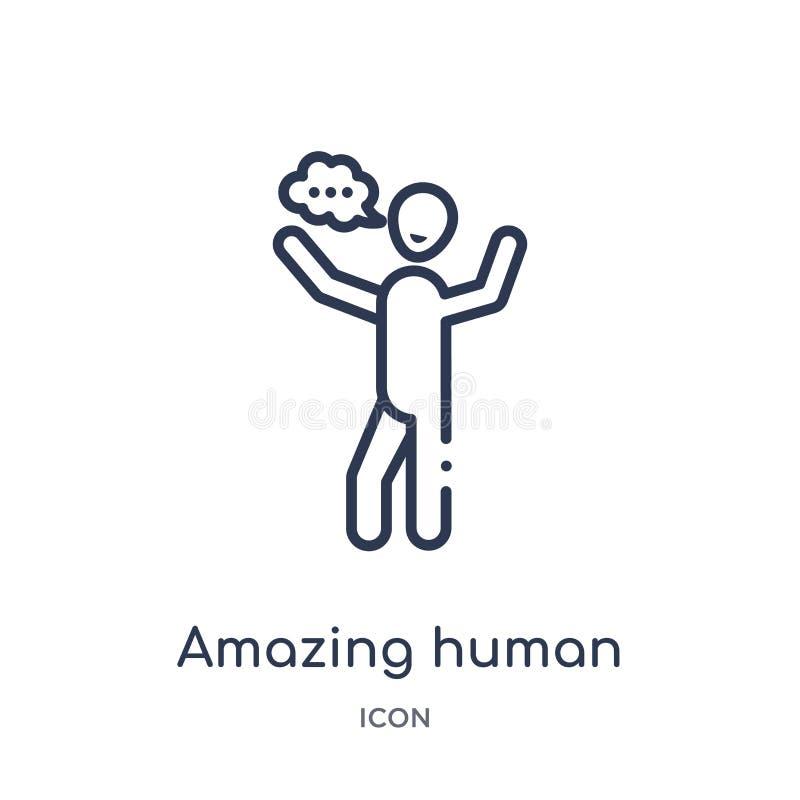 Icône humaine étonnante linéaire de collection d'ensemble de sentiments Ligne mince stupéfiant le vecteur humain d'isolement sur  illustration stock