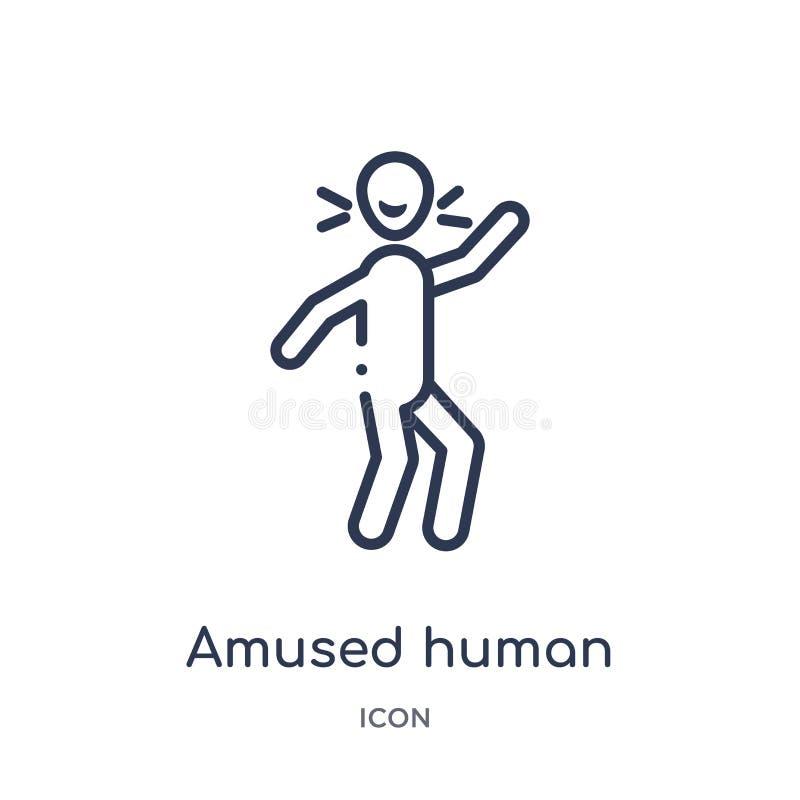 Icône humaine amusée linéaire de collection d'ensemble de sentiments La ligne mince a amusé le vecteur humain d'isolement sur le  illustration stock