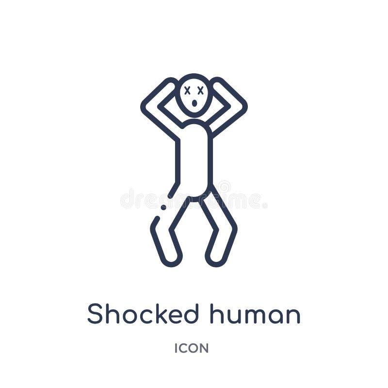 Icône humaine choquée linéaire de collection d'ensemble de sentiments La ligne mince a choqué le vecteur humain d'isolement sur l illustration stock