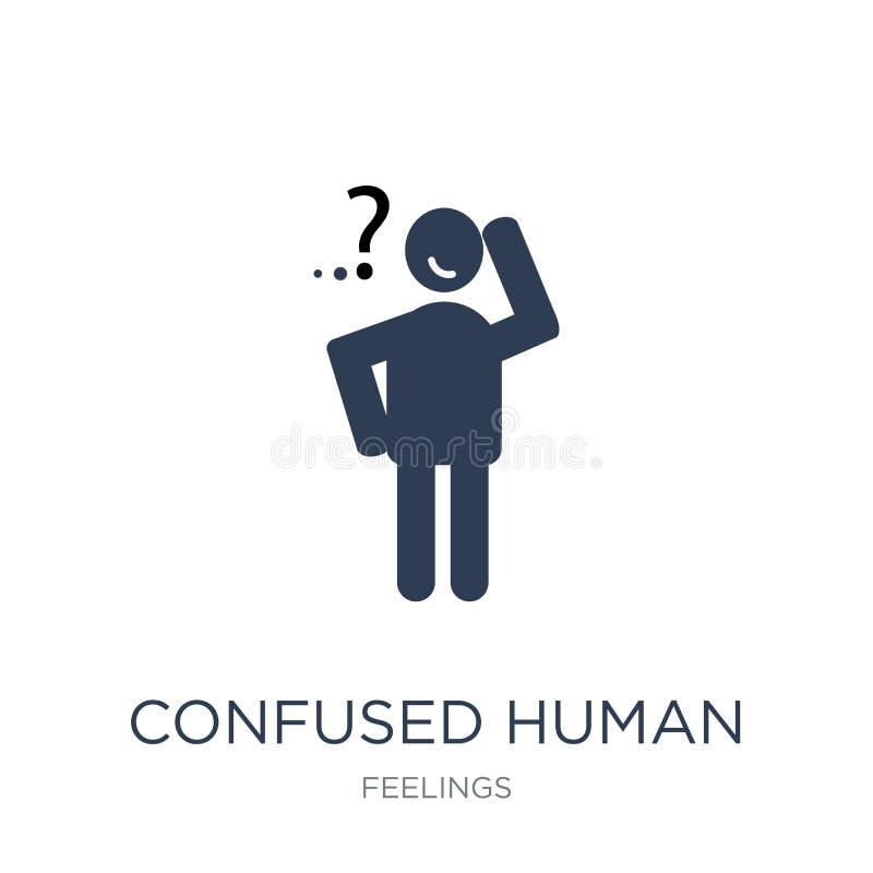 icône humaine confuse Icône humaine confuse de vecteur plat à la mode sur W illustration de vecteur