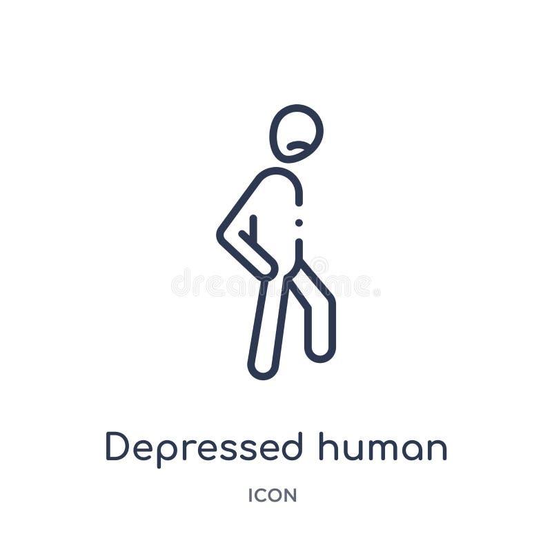 Icône humaine déprimée linéaire de collection d'ensemble de sentiments Ligne mince vecteur humain déprimé d'isolement sur le fond illustration libre de droits
