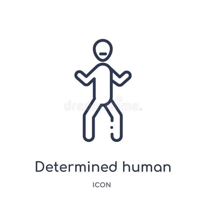Icône humaine déterminée linéaire de collection d'ensemble de sentiments La ligne mince a déterminé le vecteur humain d'isolement illustration stock