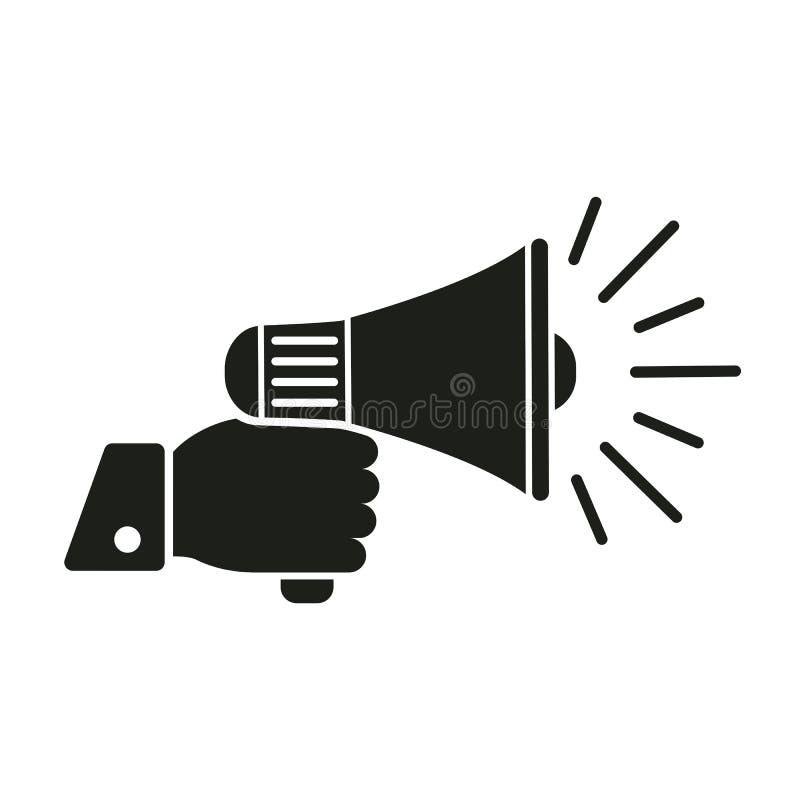 Icône humaine de mégaphone de participation de main, vecteur d'†de signe de haut-parleur « illustration stock