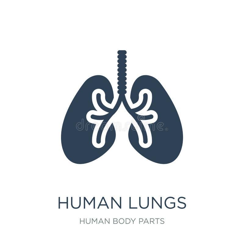 icône humaine de poumons dans le style à la mode de conception Icône humaine de poumons d'isolement sur le fond blanc les poumons illustration libre de droits