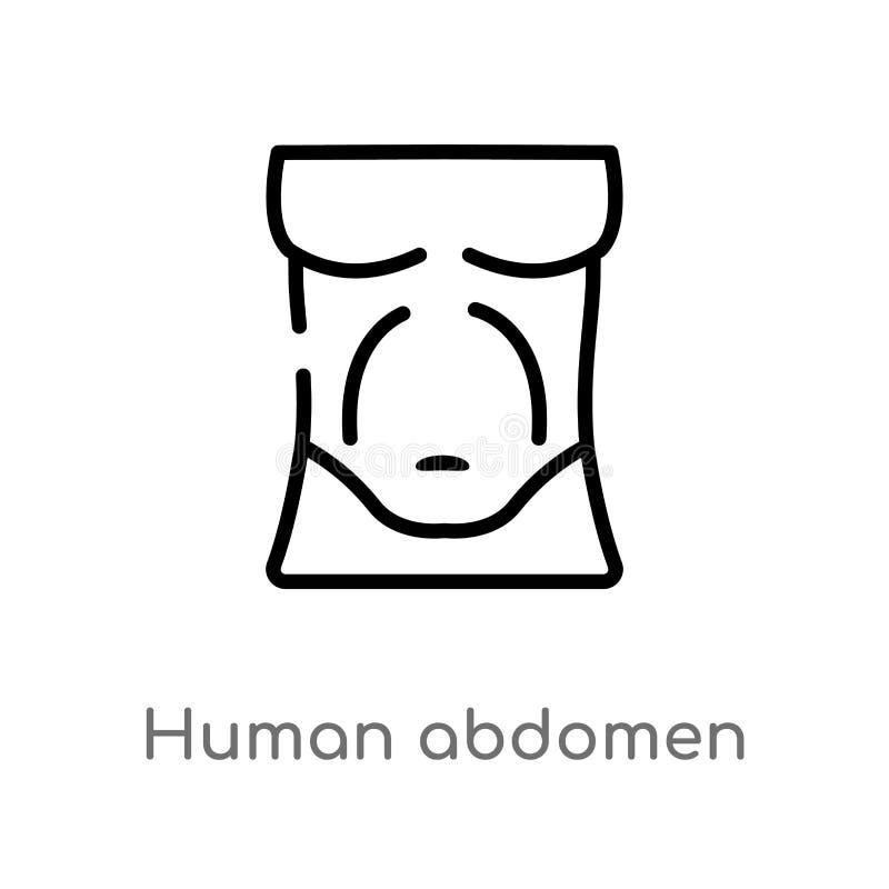 icône humaine de vecteur d'abdomen d'ensemble ligne simple noire d'isolement illustration d'élément de concept de pièces de corps illustration libre de droits