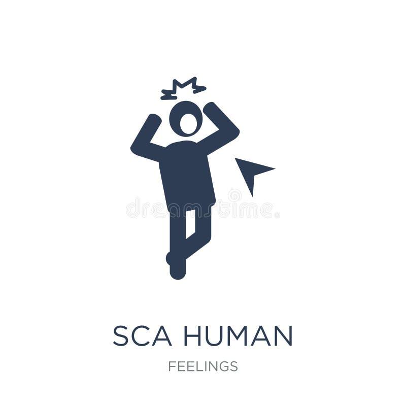 icône humaine effrayée Icône humaine effrayée par vecteur plat à la mode sur le blanc illustration de vecteur