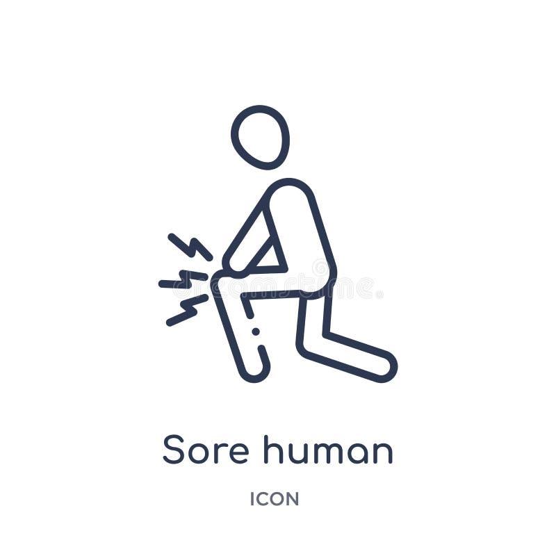 Icône humaine endolorie linéaire de collection d'ensemble de sentiments Ligne mince vecteur humain endolori d'isolement sur le fo illustration libre de droits