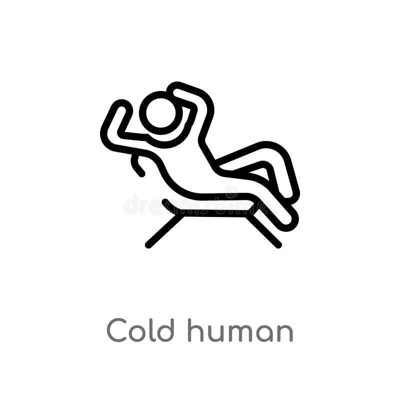 icône humaine froide de vecteur d'ensemble ligne simple noire d'isolement illustration d'élément de concept de sentiments froid e illustration de vecteur