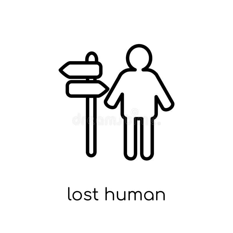 icône humaine perdue Le vecteur linéaire plat moderne à la mode a perdu l'ico humain illustration de vecteur