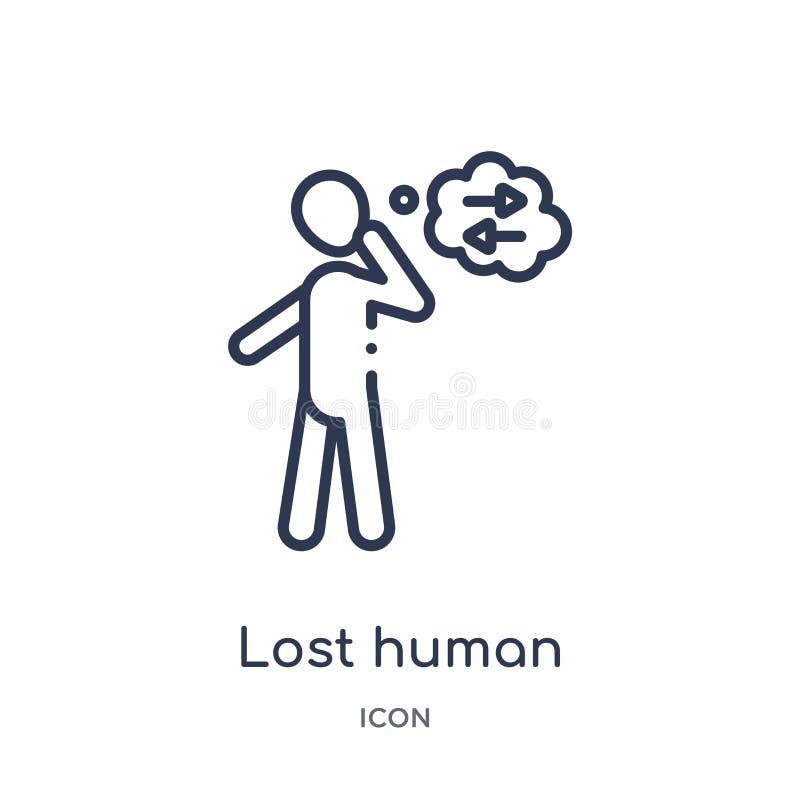 Icône humaine perdue linéaire de collection d'ensemble de sentiments La ligne mince a perdu le vecteur humain d'isolement sur le  illustration stock