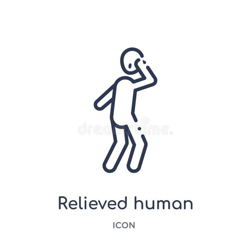 Icône humaine soulagée linéaire de collection d'ensemble de sentiments La ligne mince a soulagé le vecteur humain d'isolement sur illustration de vecteur
