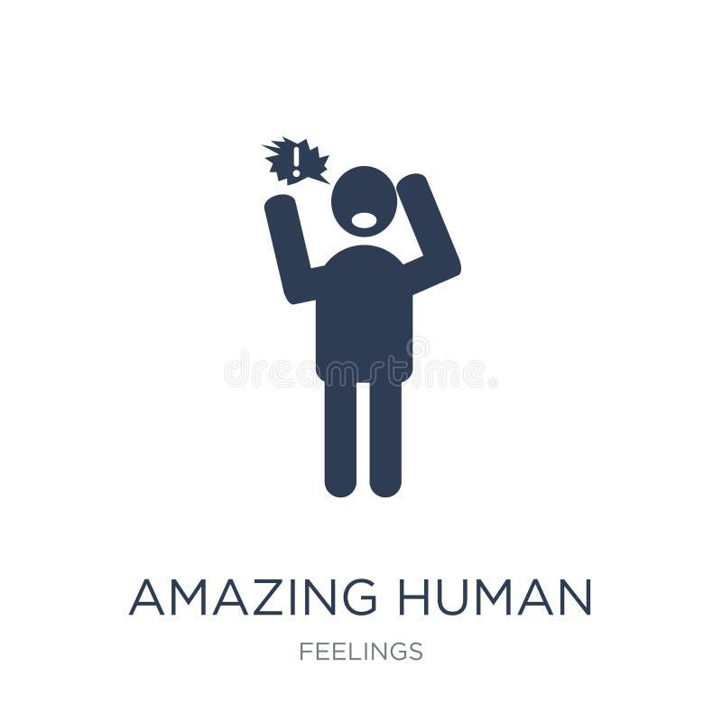 icône humaine stupéfiante Vecteur plat à la mode stupéfiant l'icône humaine sur le whi illustration de vecteur
