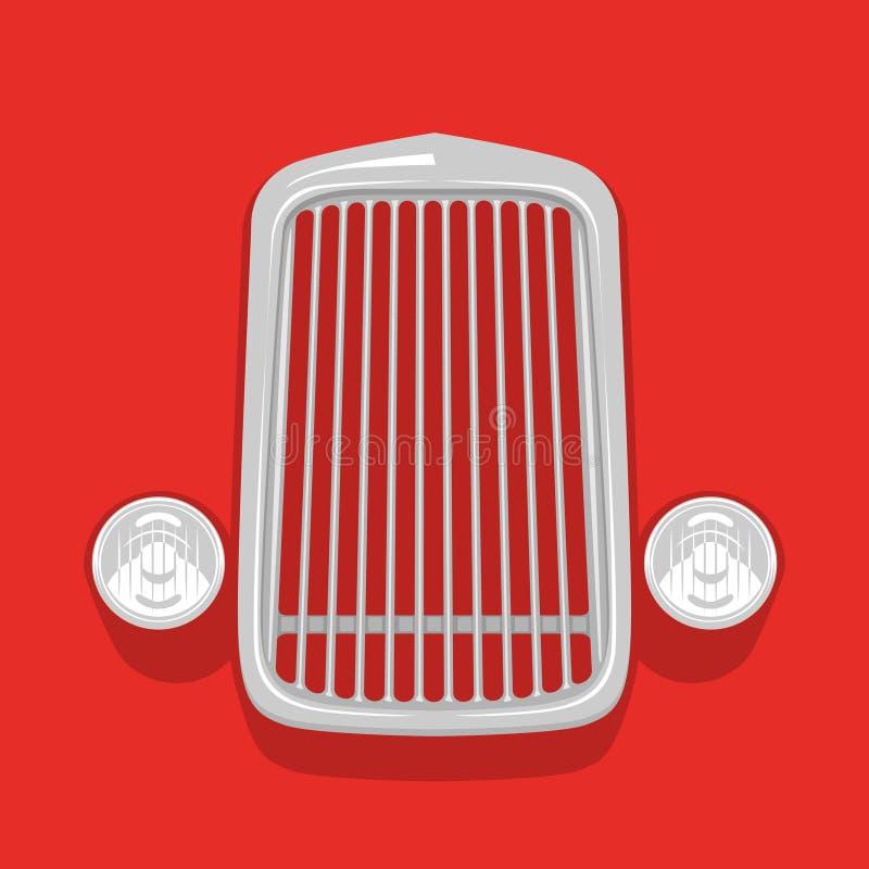 Icône iconique d'isolement de vintage de gril simple de voiture illustration stock