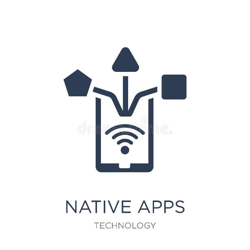 Icône indigène d'applis Icône indigène d'applis de vecteur plat à la mode sur b blanc illustration libre de droits