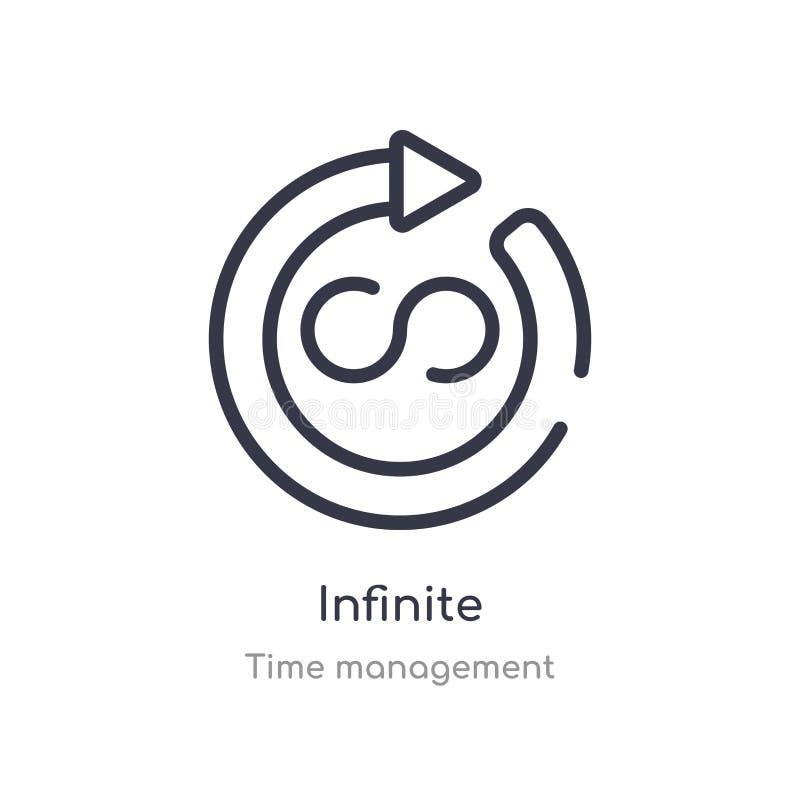icône infinie d'ensemble ligne d'isolement illustration de vecteur de collection de gestion du temps icône infinie de course minc illustration libre de droits