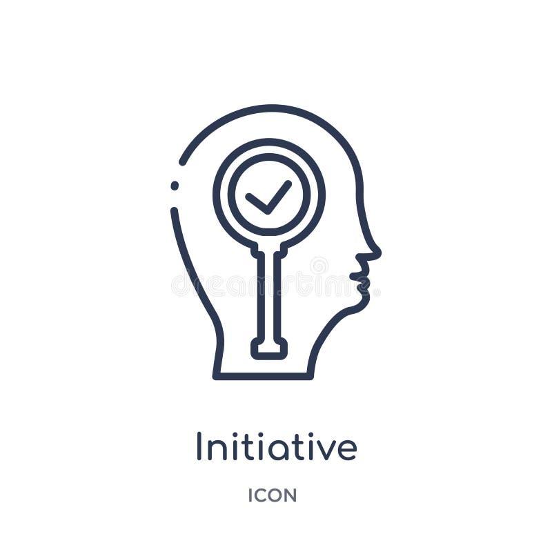 Icône initiatique linéaire de collection d'ensemble de processus de cerveau Ligne mince vecteur initiatique d'isolement sur le fo illustration stock