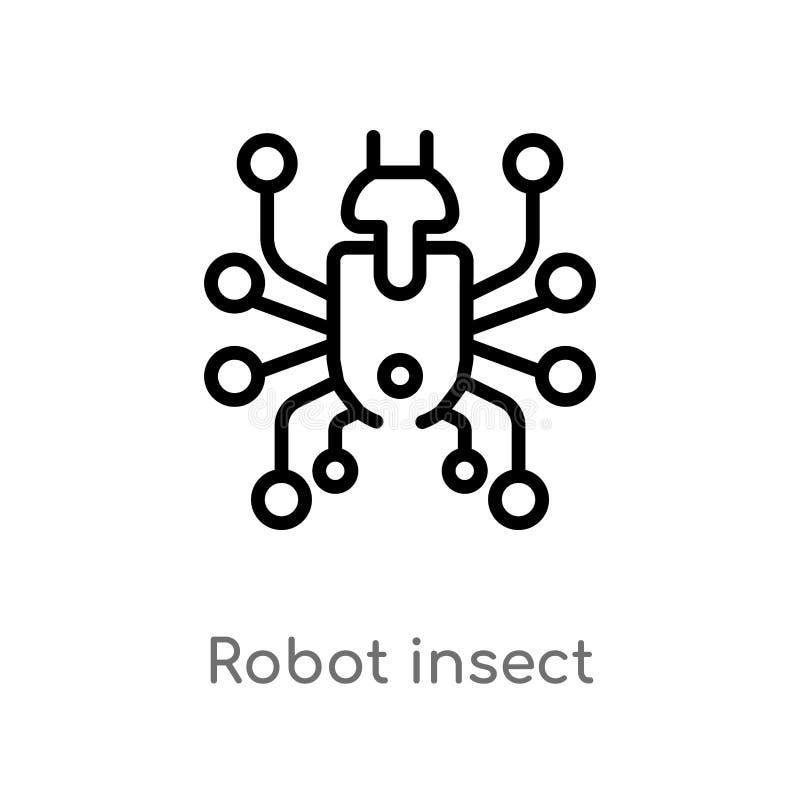 ic?ne insecte vecteur de robot d'ensemble ligne simple noire d'isolement illustration d'?l?ment de concept de technologie Course  illustration libre de droits