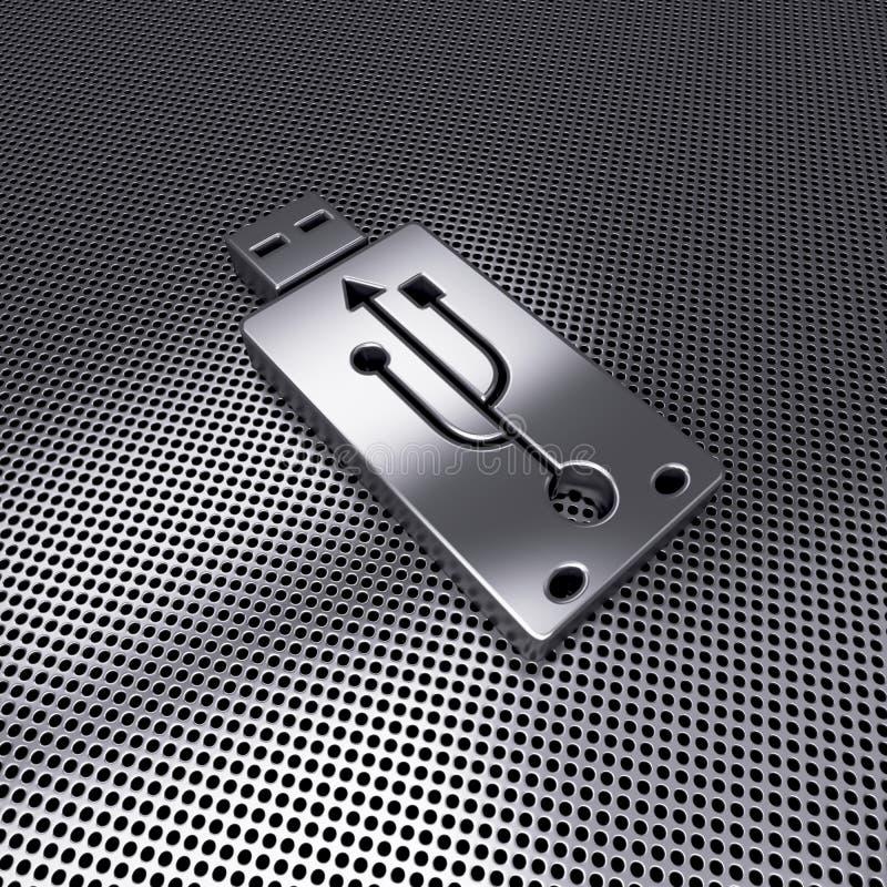Icône instantanée d'entraînement d'USB sur le métal perforé, style courant de conception illustration libre de droits