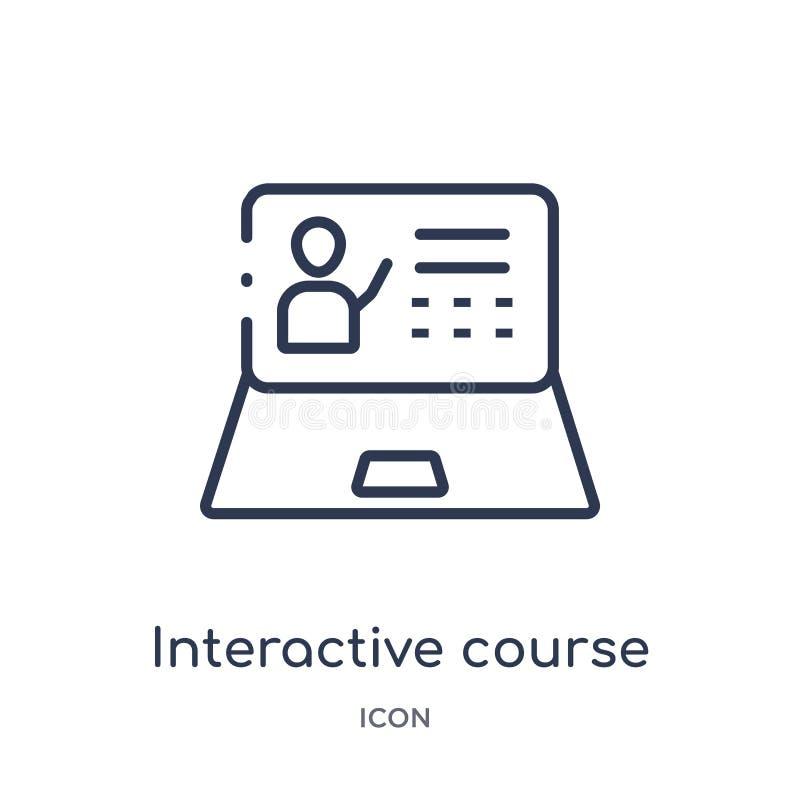Icône interactive linéaire de cours de collection d'ensemble d'Elearning et d'éducation Ligne mince vecteur interactif de cours d illustration libre de droits