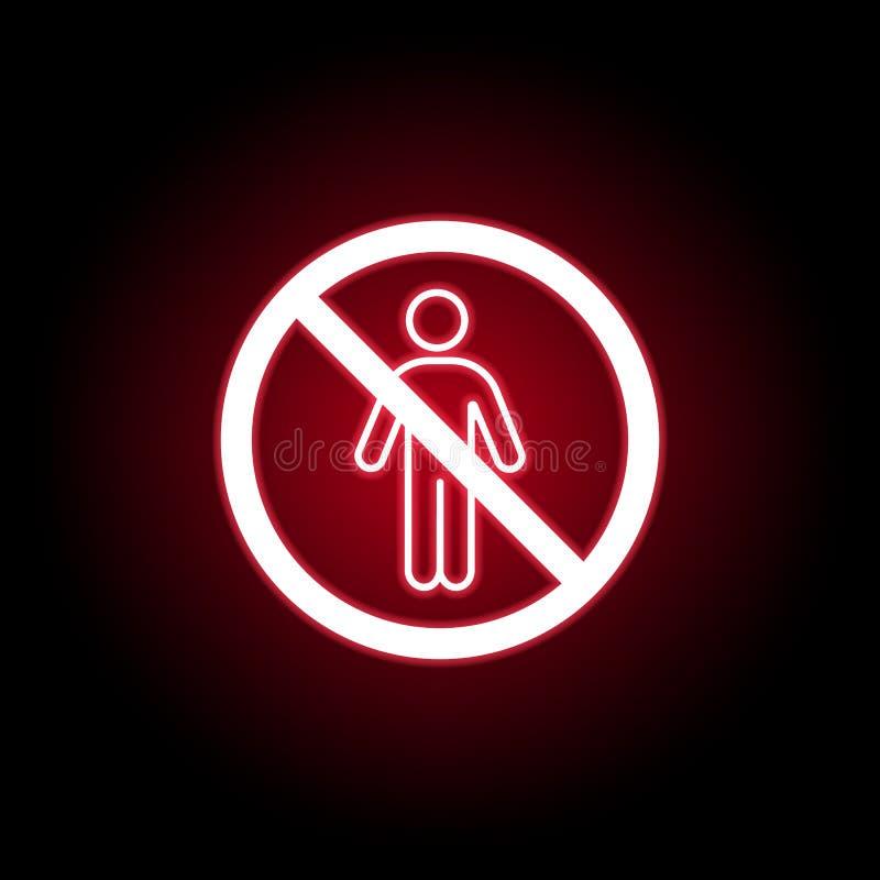 Icône interdite d'homme dans le style au néon rouge Peut ?tre employ? pour le Web, logo, l'appli mobile, UI, UX illustration stock