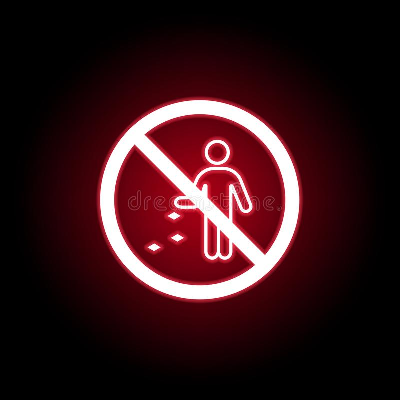 Icône interdite de déchets de jet dans le style au néon rouge Peut ?tre employ? pour le Web, logo, l'appli mobile, UI, UX illustration libre de droits
