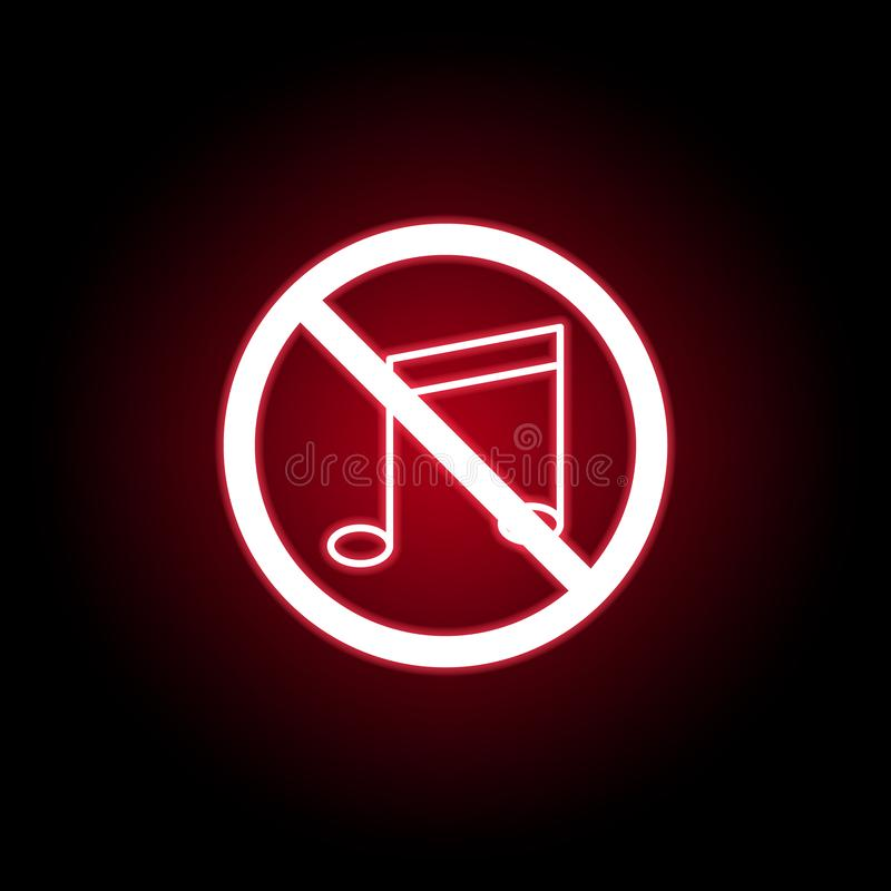 Icône interdite de musique dans le style au néon rouge Peut ?tre employ? pour le Web, logo, l'appli mobile, UI, UX illustration stock