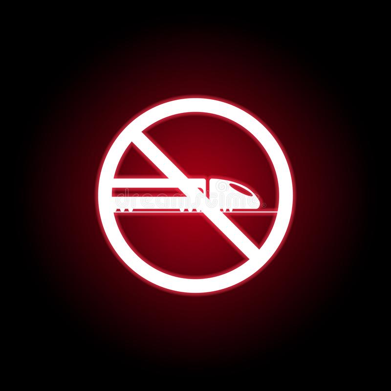 Icône interdite de train dans le style au néon rouge Peut ?tre employ? pour le Web, logo, l'appli mobile, UI, UX illustration libre de droits