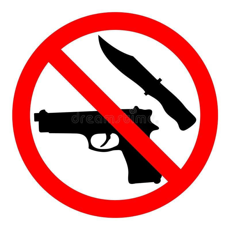 Icône interdite par arme ` Menaçant de signe de vecteur aucun ` d'armes avec l'arme à feu et le couteau illustration de vecteur