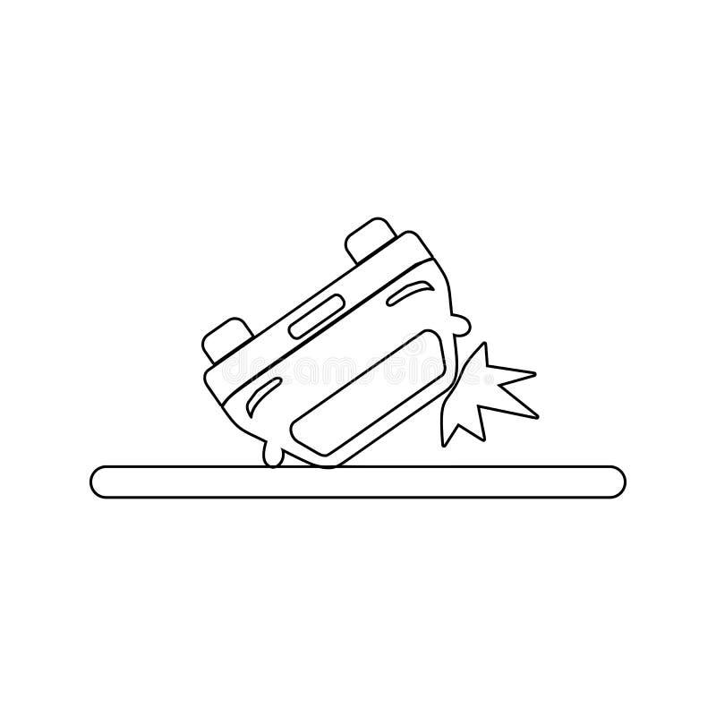 icône inversée de voiture Élément d'assurance pour le concept et l'icône mobiles d'applis de Web Ligne mince icône pour la concep illustration stock