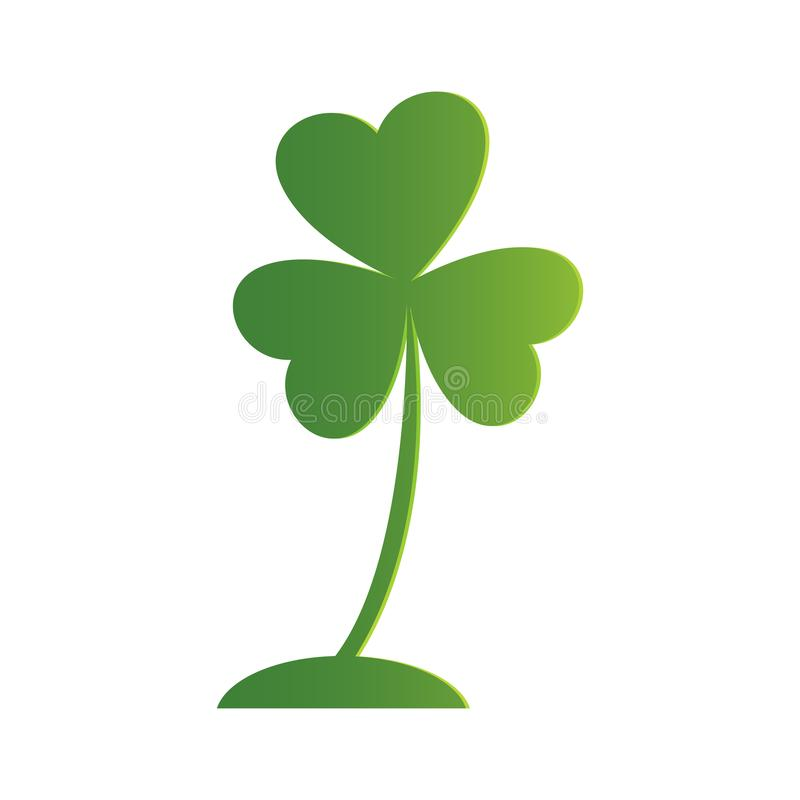Icône irlandaise de trèfle de trois feuilles Oxalide petite oseille vert clair, d'isolement sur le blanc vecteur prêt d'image d'i illustration de vecteur