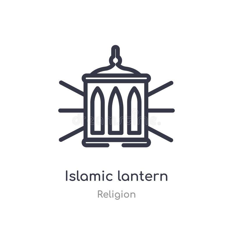 icône islamique d'ensemble de lanterne ligne d'isolement illustration de vecteur de collection de religion lanterne islamique de  illustration stock