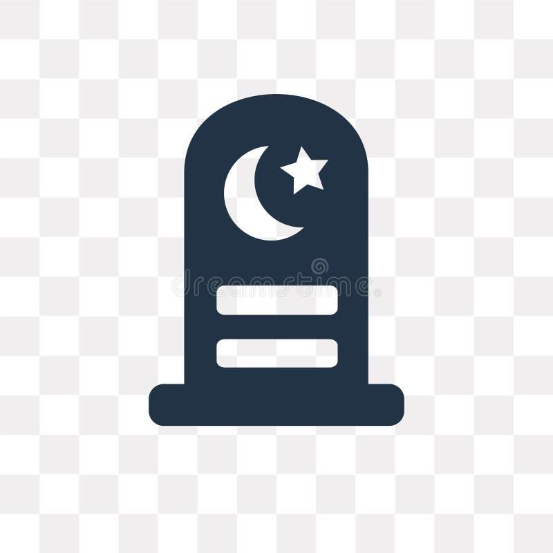 Icône islamique de vecteur de cimetière d'isolement sur le fond transparent, illustration de vecteur