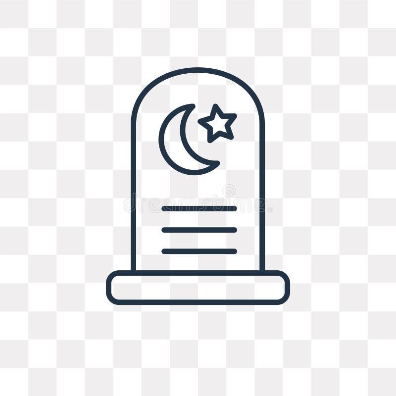 Icône islamique de vecteur de cimetière d'isolement sur le fond transparent, illustration stock