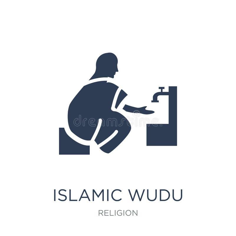 Icône islamique de Wudu Icône islamique de Wudu de vecteur plat à la mode sur le blanc illustration de vecteur