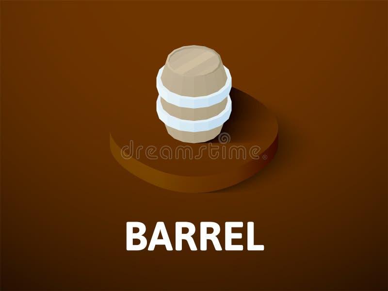 Icône isométrique de baril, sur le fond de couleur illustration de vecteur