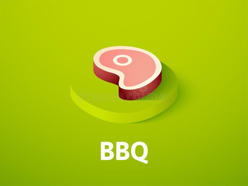 Icône isométrique de BBQ, sur le fond de couleur illustration stock