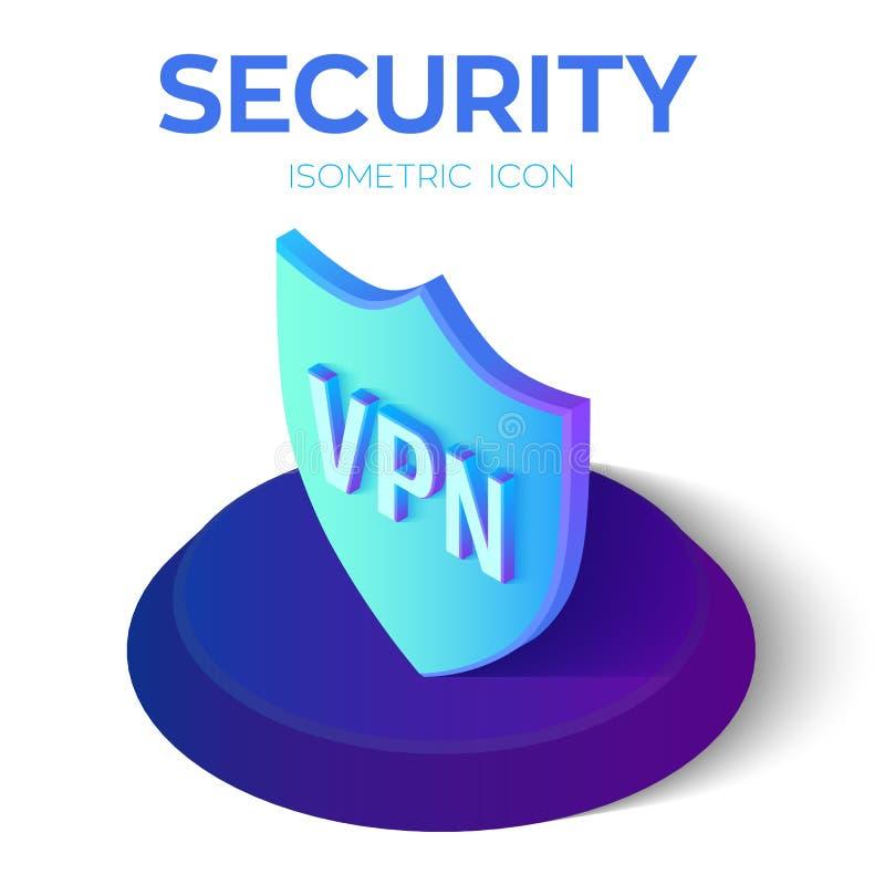 Icône isométrique de bouclier de sécurité VPN - icône virtuelle de réseau privé signe isométrique de bouclier de la sécurité 3D C illustration stock