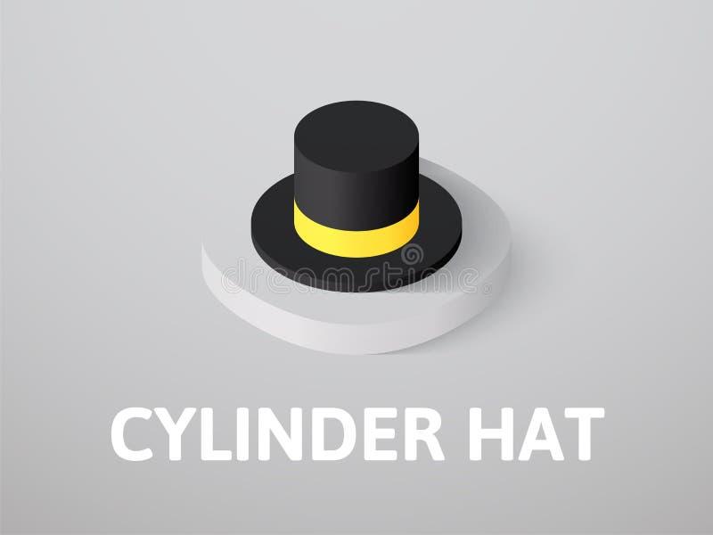 Icône isométrique de chapeau de cylindre, d'isolement sur le fond de couleur illustration de vecteur