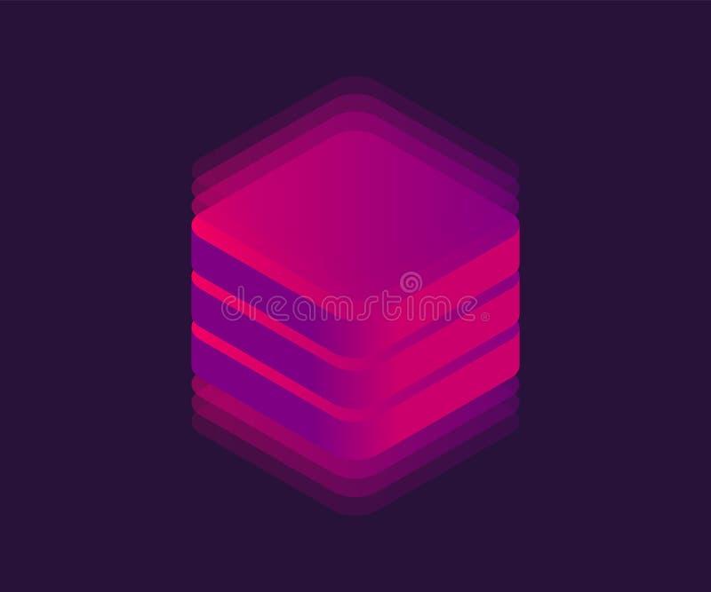 Icône isométrique de grand stockage de données au néon Cube abstrait, bloc au néon, illustration du vecteur 3D illustration de vecteur