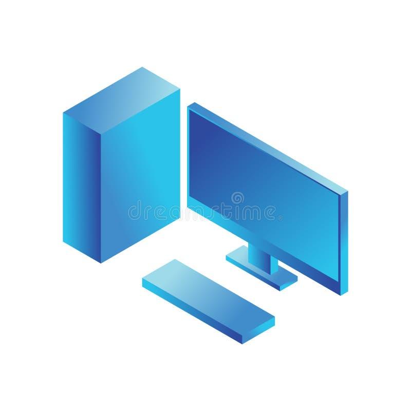 Icône isométrique de moniteur de PC Signe de vecteur d'informatique illustration libre de droits