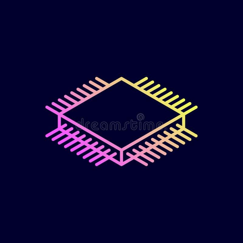 Icône isométrique de puce Unité centrale de traitement illustration stock